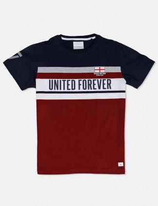 Octave maroon stripe mens t-shirt