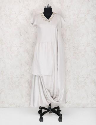 Off white color cotton silk kurti