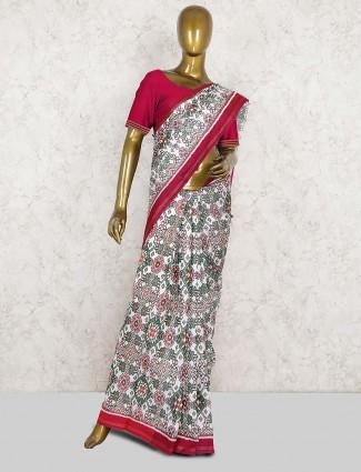 Off white color patola silk pretty saree