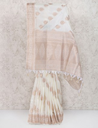 Off white color semi silk saree