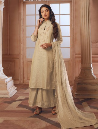 Off white cotton silk palazzo suit