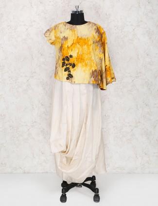Off white cotton silk round neck kurti