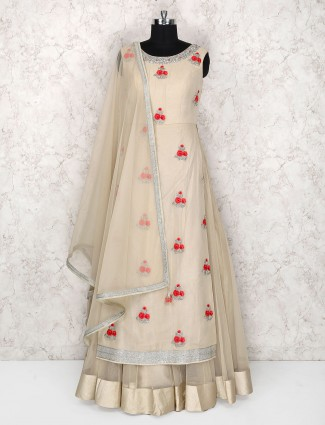 Off white double layer salwar suit in georgette