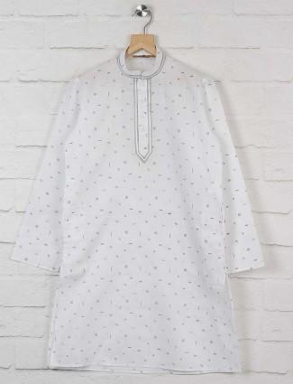 Off white printed cotton kurta suit