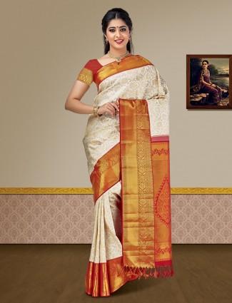 Off white pure silk kanjivaram  saree for festive