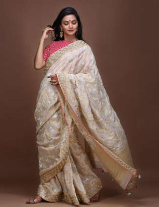 Off white pure silk lovely saree