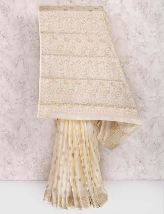 Off white semi silk saree