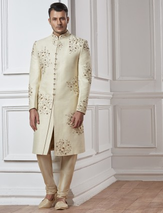 Off white silk designer sherwani