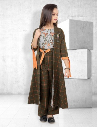 Olive and grey hue indo western salwar suit