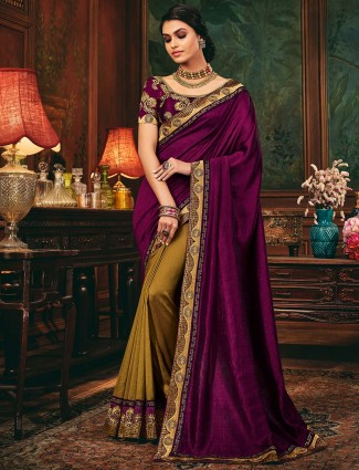 Olive and purple half and half cotton silk saree