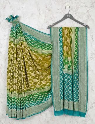 Olive Bandhej Wedding Wear Saree