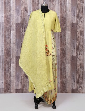 Olive color silk palazzo suit