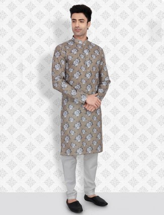 Olive cotton kurta suit for mens