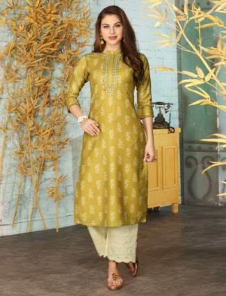 Olive cotton punjabi palazzo suit for festive