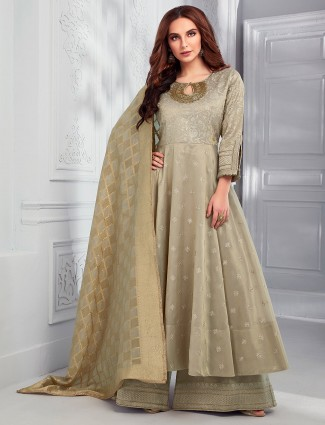 Olive cotton silk pakistani dress with palazzo
