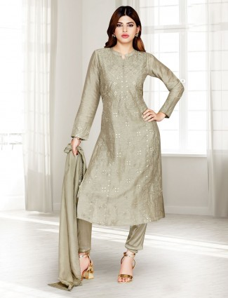 Olive cotton silk punjabi pant suit in festive