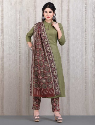 Olive cotton solid punjabi straight cut pant suit