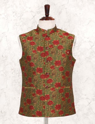 Olive designer terry rayon waistcoat