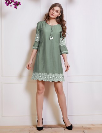 Olive drawstring top in cotton