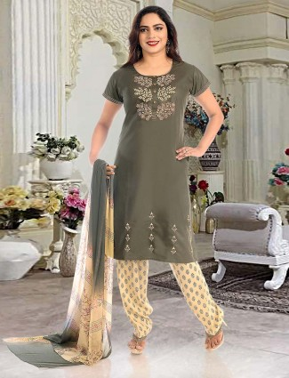 Olive green cotton fabric punjabi salwar suit