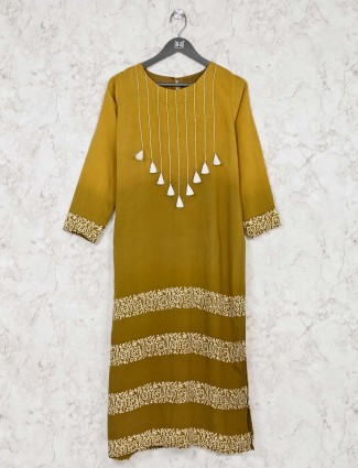 Olive green kurti combination in cotton