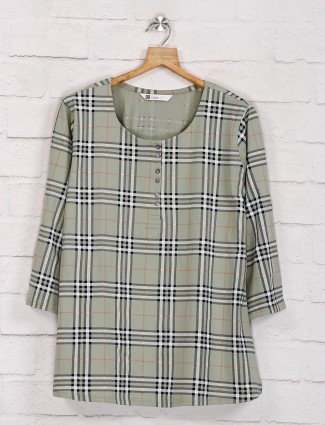 Olive half buttoned casual top in cotton