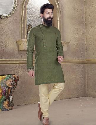 Olive plain kurta suit