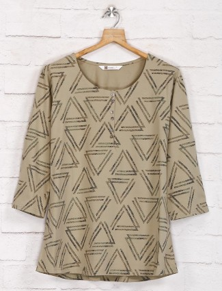 Olive printed casual half buttoned top in cotton
