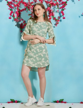 Olive printed casual long top in cotton