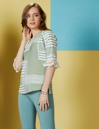 Olive printed casual top in cotton