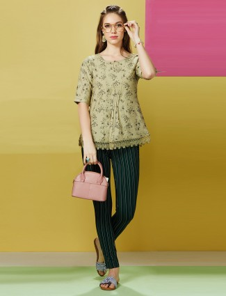 Olive printed cotton casual top