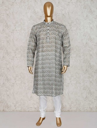 Olive printed cotton kurta suit in festive