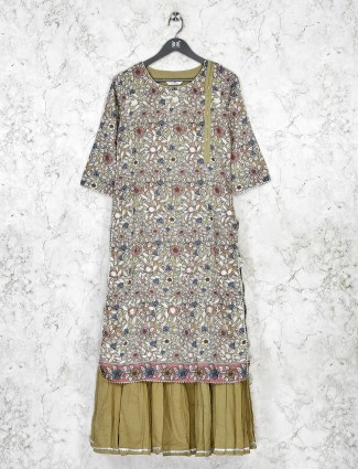Olive printed cotton quarter sleeve kurti