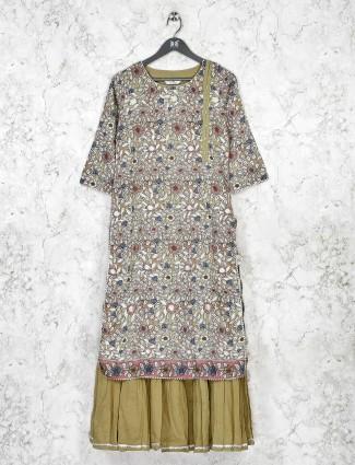 Olive printed cotton quarter sleeve kurti