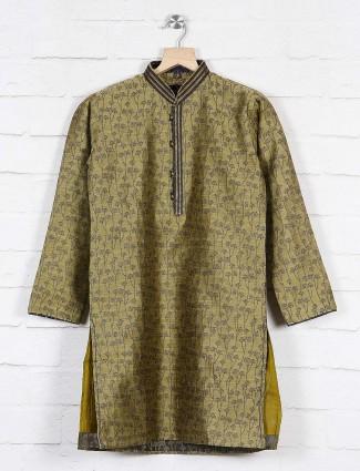 Olive printed pattern kurta suit