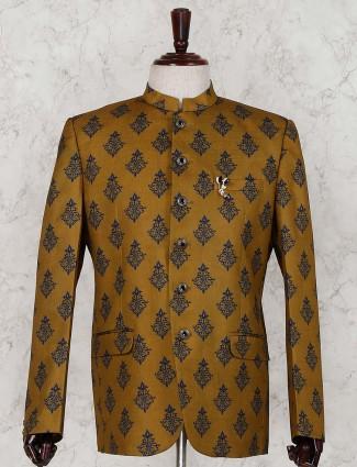 Olive printed terry rayon jodhpuri suit