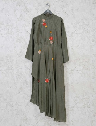 Olive raw silk chinese neck kurti