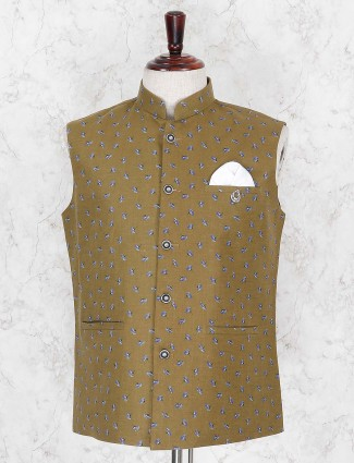 Olive terry rayon party wear waistcoat