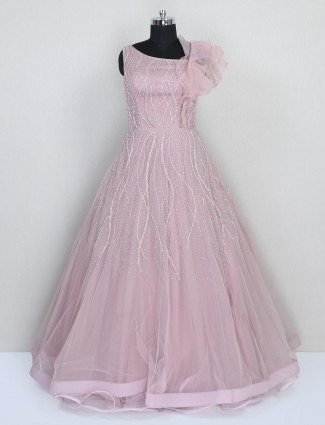 Onion pink net floor length gown for wedding session