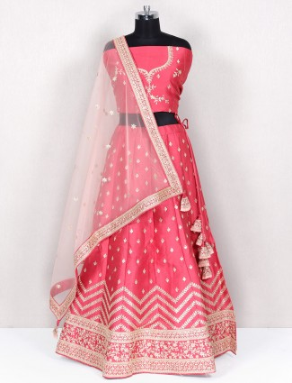 Onion pink unstitched lehenga for wedding