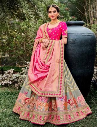 Opulent grey semi stitched lehenga choli for wedding ceremonies