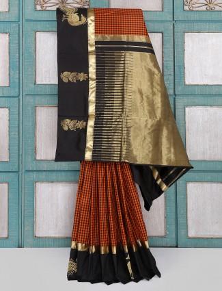 Orange and black checks pattern saree