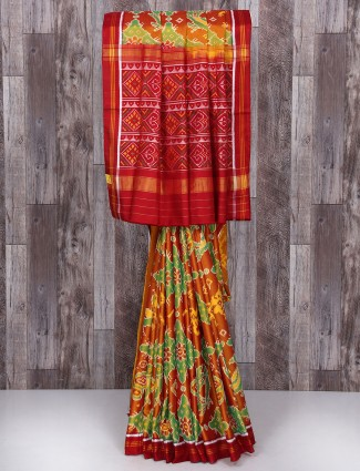 Orange and maroon silk wedding saree
