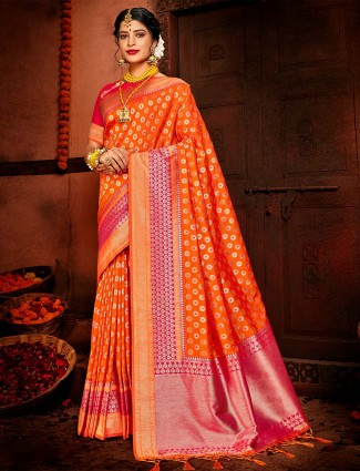 Orange banarasi silk exclusive wedding saree