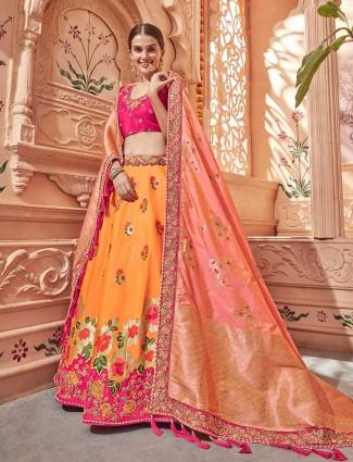 Orange banarasi silk wedding semi stitched lehenga choli