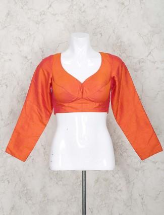 Orange color blouse in silk fabric