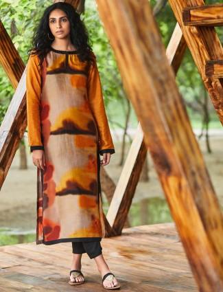 Orange color cotton casual punjabi salwar suit
