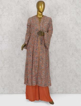 Orange color cotton palazzo suit
