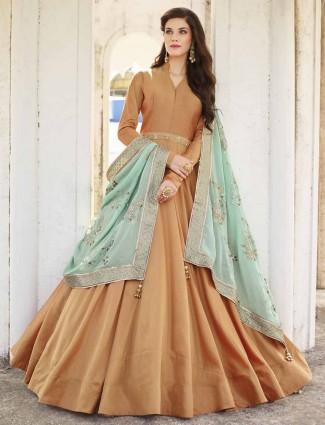 Orange color cotton silk floor length anarkali suit
