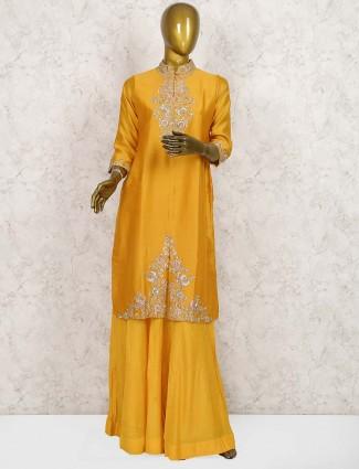 Orange color cotton silk sharara suit